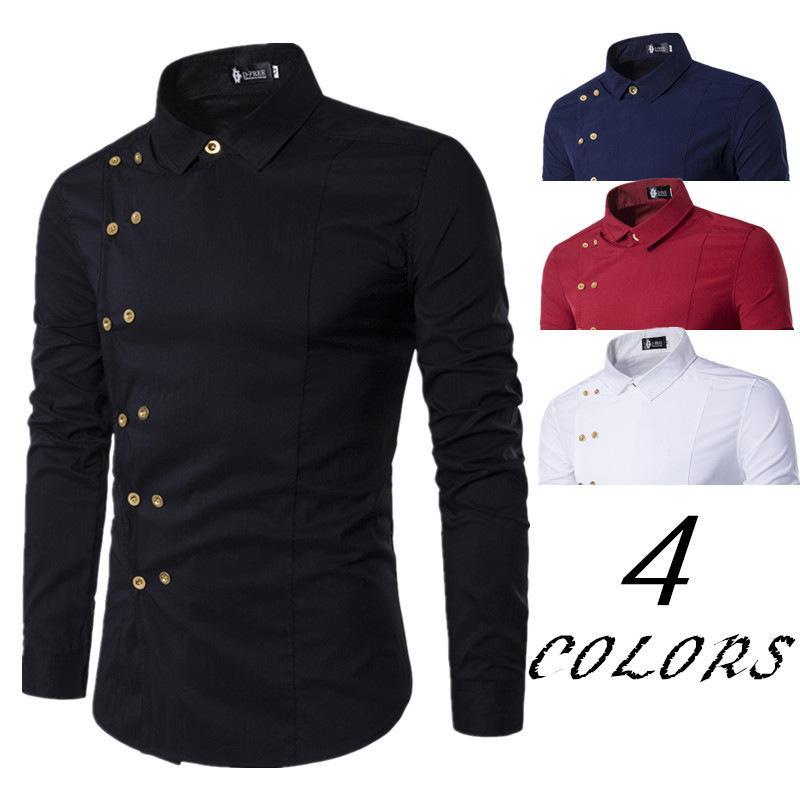 2021 Primavera uomo solido Business British Casual Casual Collar Doppia Row Button Camicia a maniche lunghe Camicia da uomo