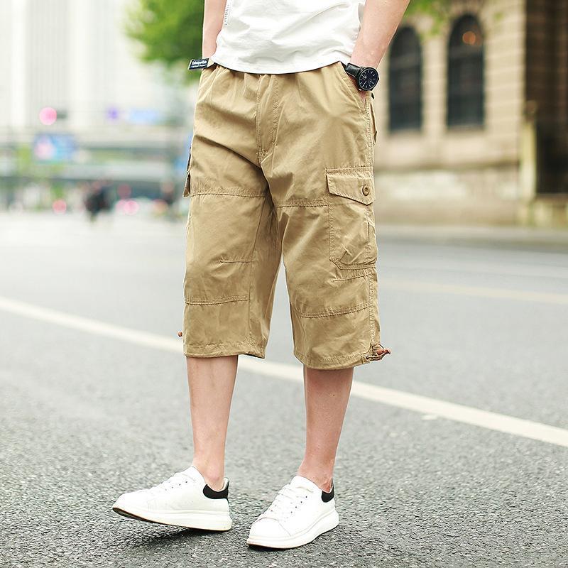 Männer Shorts 2021 Sommer Baggy Multi Pocket Cargo Männliche Baumwolle Khaki Mens Taktische Kurzhosen plus Größe 7XL