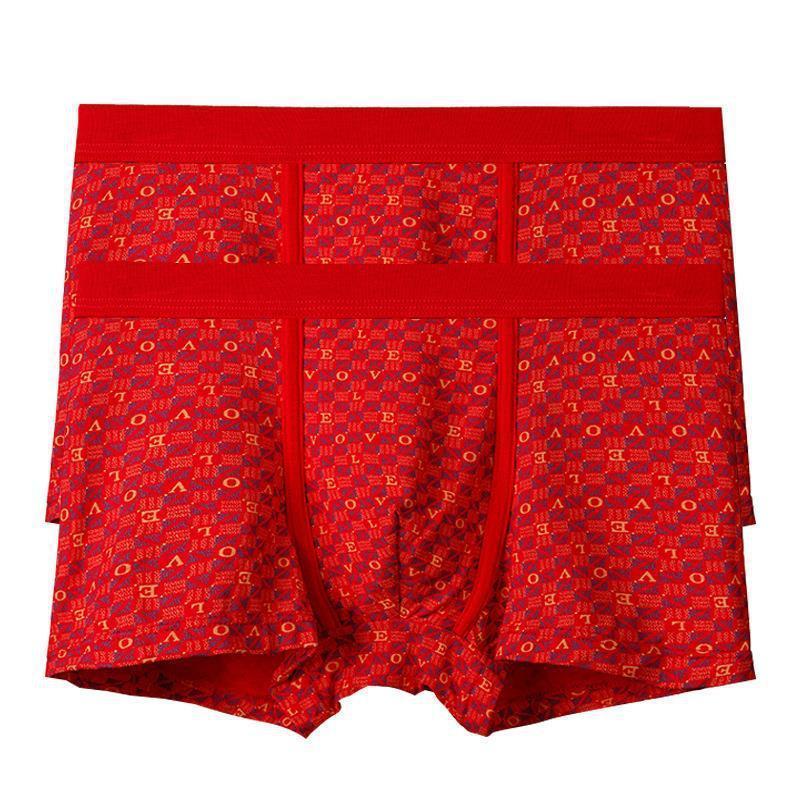 Bambu Elyaf Gençlik Evlilik Üst Kırmızı Doğum Günü Boxer Erkek İç Giyim