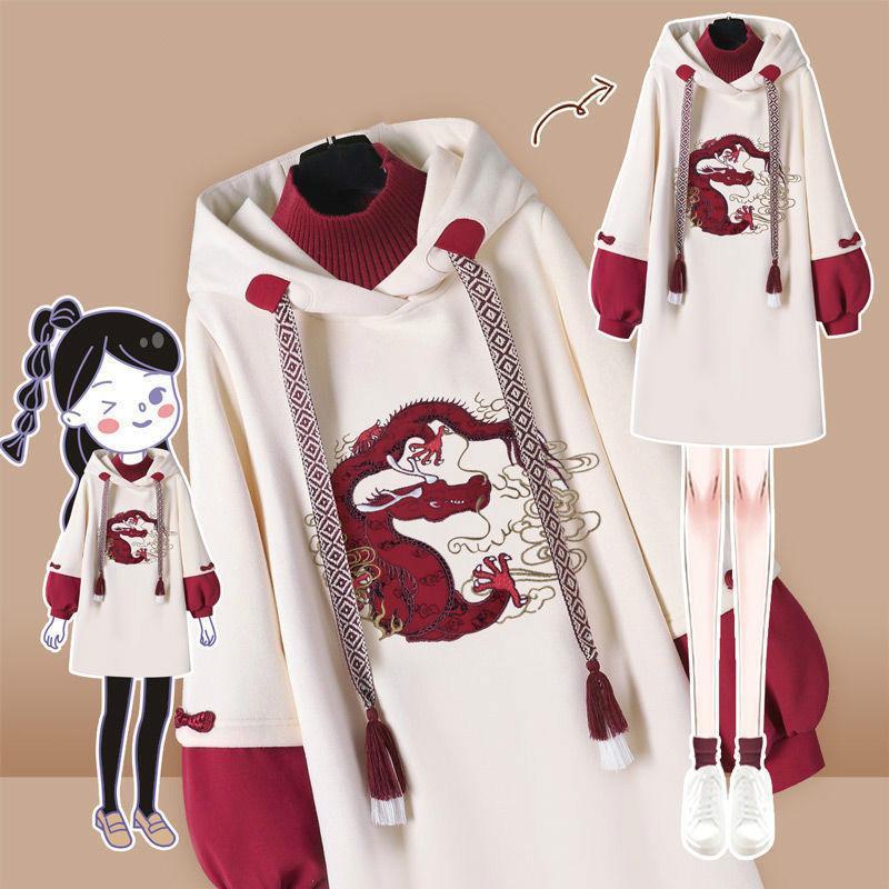 Ropa étnica China estilo tradicional con capucha sudadera de cuello alto vestido mujer primavera cheongsam vestidos de fiesta Vestidos gruesos
