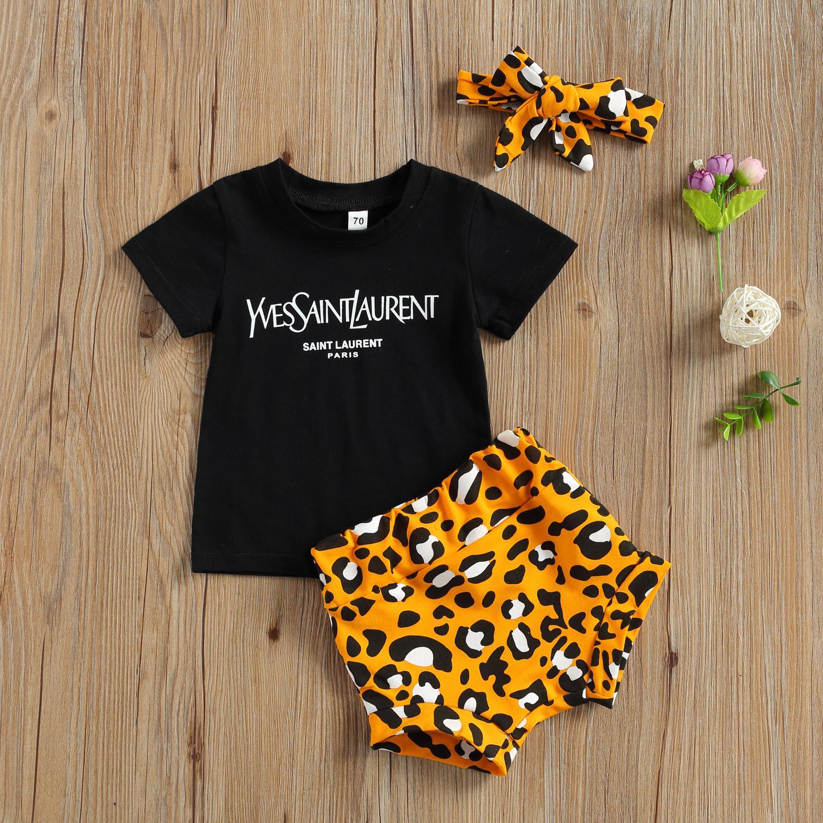 0-3Y Sommer Säuglingsbaby Mädchen Kleidung Sets 3 stücke Brief Kurzarm Pullover T Shirts Leopard Shorts Stirnband