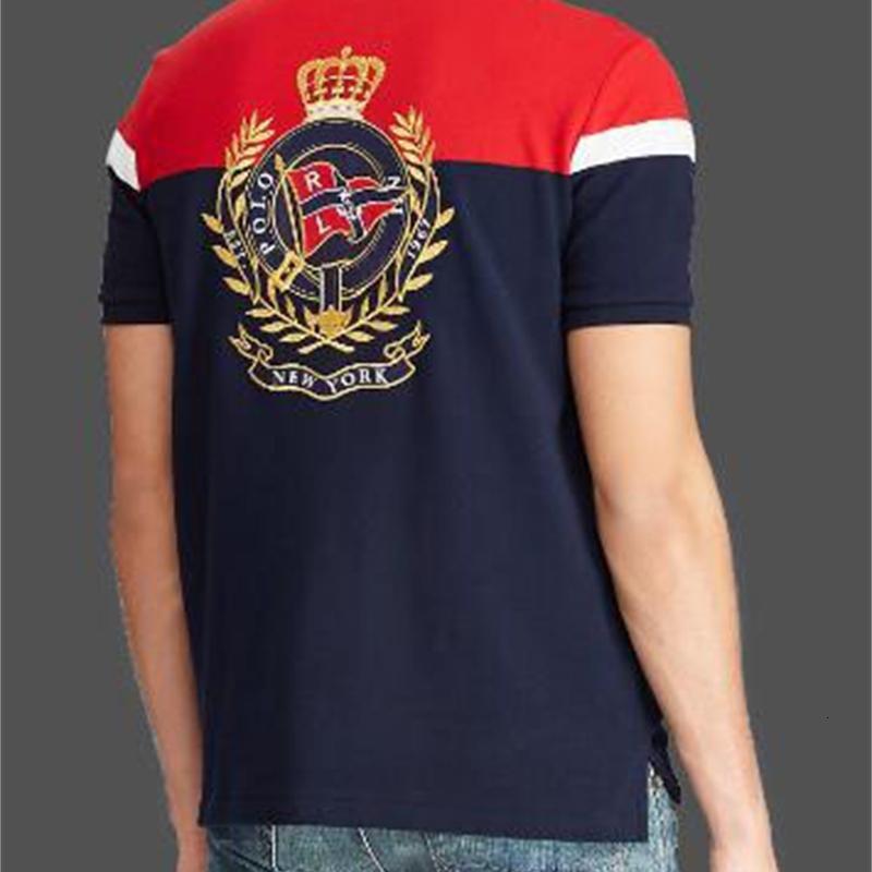 Klasik Yeni Stil Yaz Erkekler Çizgili Polo Gömlek New York RL Pamuk Kısa Kollu Rahat Moda Polos ABD Yarışı T-Shirt Donanma Mavi Kırmızı