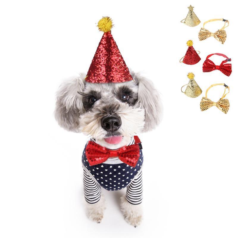 Hundehalsbänder Leashes Pet Supplies Teddy Cat Fug Fliege Hut Party Geburtstagskragen Perro Chihuahua Bling