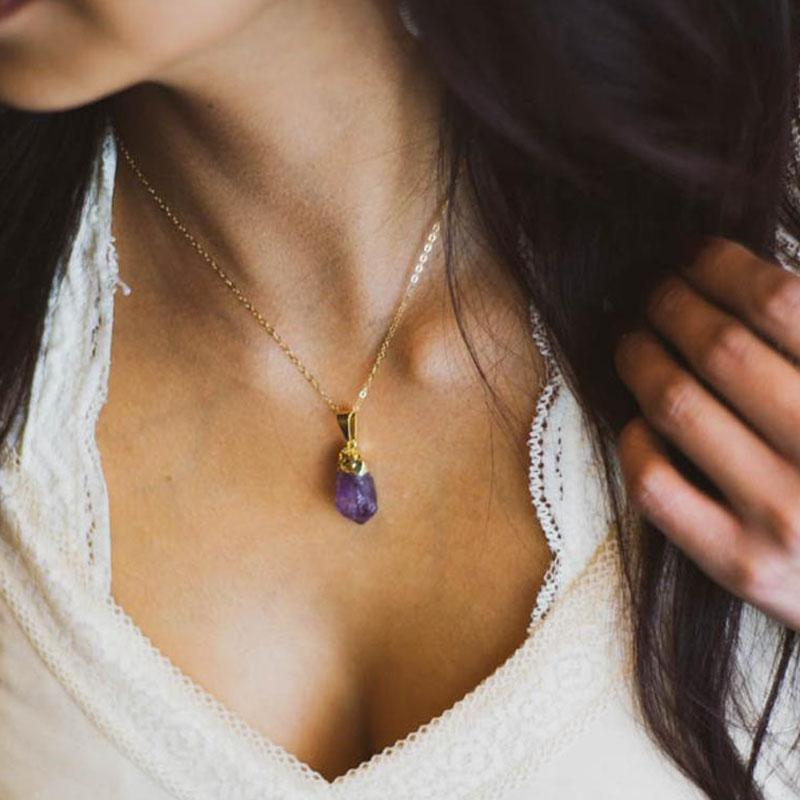 Petite Raw Amethyst Necklace, Gold Electroplated Amethyst Necklace, Raw Gemstone Pendant, 14K Gold Filled, Gifts for Her, Layering Necklace