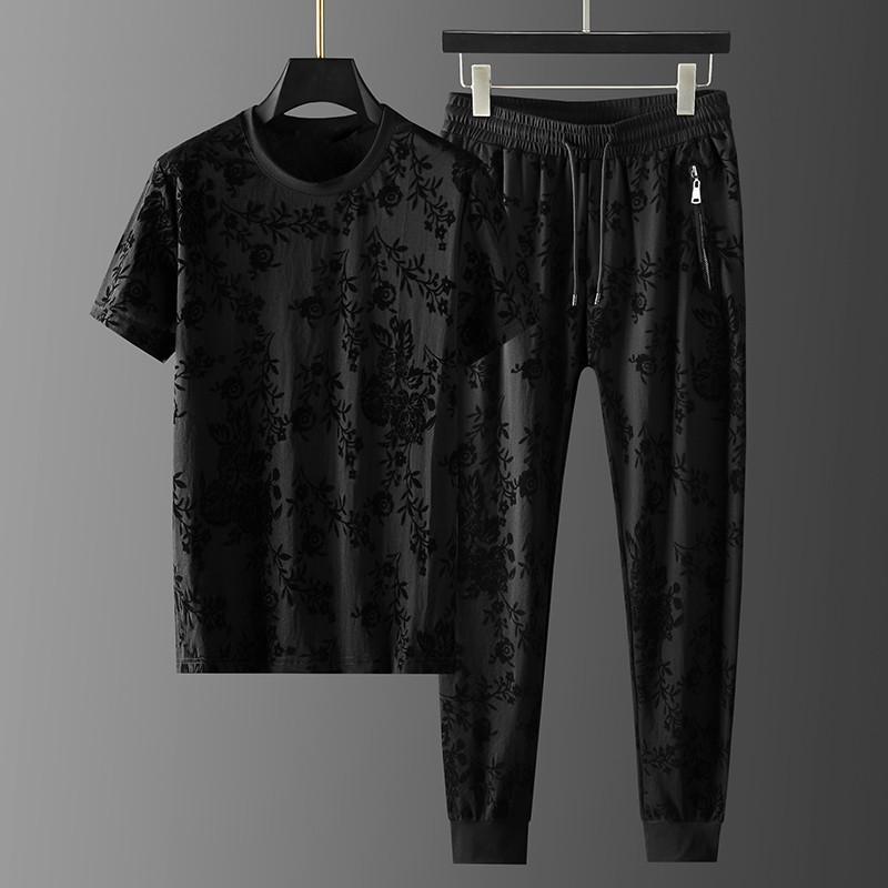 남성용 트랙스 여름 남성 세트 (티셔츠 + 바지) 럭셔리 라운드 칼라 자카드 캐주얼 스포츠 남자 Fashon 슬림 탄성 허리 남성 바지