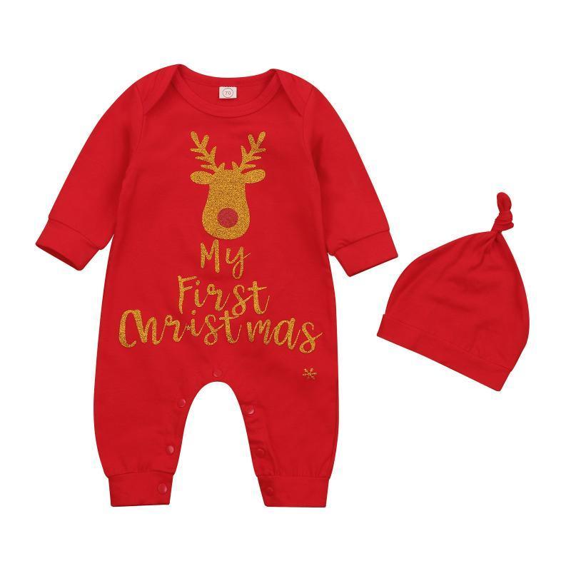 Weihnachten Neugeborene Baby Mädchen Jungen Strampler Hut 2 stücke Cartoon Deer Drucken Langarm Jumpsuits 0-18m