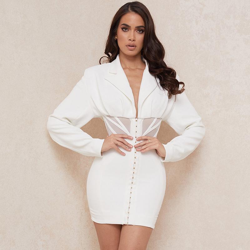 Casual kleider frauen herbst und winter langarm tiefe v mode anzug kleid für weiß undefined elegant sexy