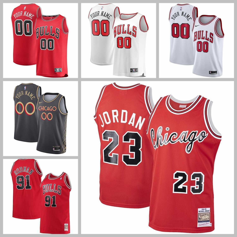 2021 Basketbol Takımı Formalar Chicago Bulls Jersey Dennis Rodman Michael Jordan Zach Lavine Siyah Beyaz Kırmızı Renk Dikişli Boyutu S-XXXL Mesh Nefes Hızlı Kuru