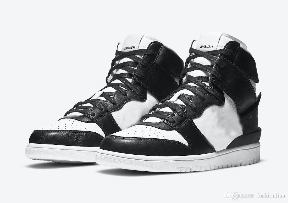 2021 Подлинная данка высокая засада черная белая еловая еловая аура мужчина женщина открытая обувь спортивные кроссовки с оригинальной коробкой