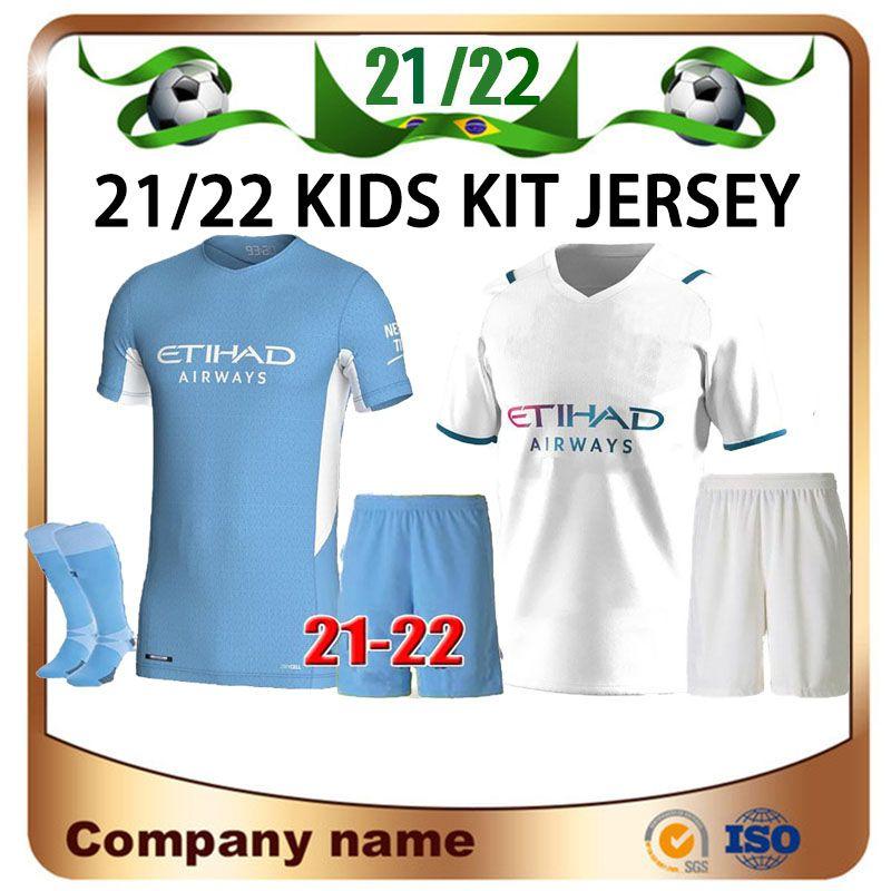 21/22 Kid Kit # 10 Kunaguero Jersey 2021 Cidade Casa de Bruyne Ferran Mahrez Camisa de Crianças G.Jesus Sterling Football Uniforms