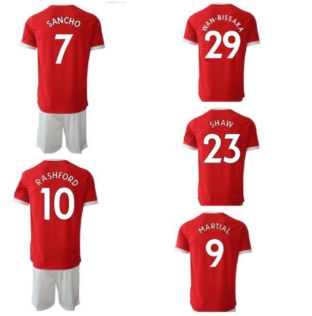 맞춤형 21-22 18 B.FERNANDE 축구 유니폼 짧은 저렴한 Rashford 10 7 Alexis 6 Pogba 8 Mata 19 21 5 Maguire 유니폼 키트