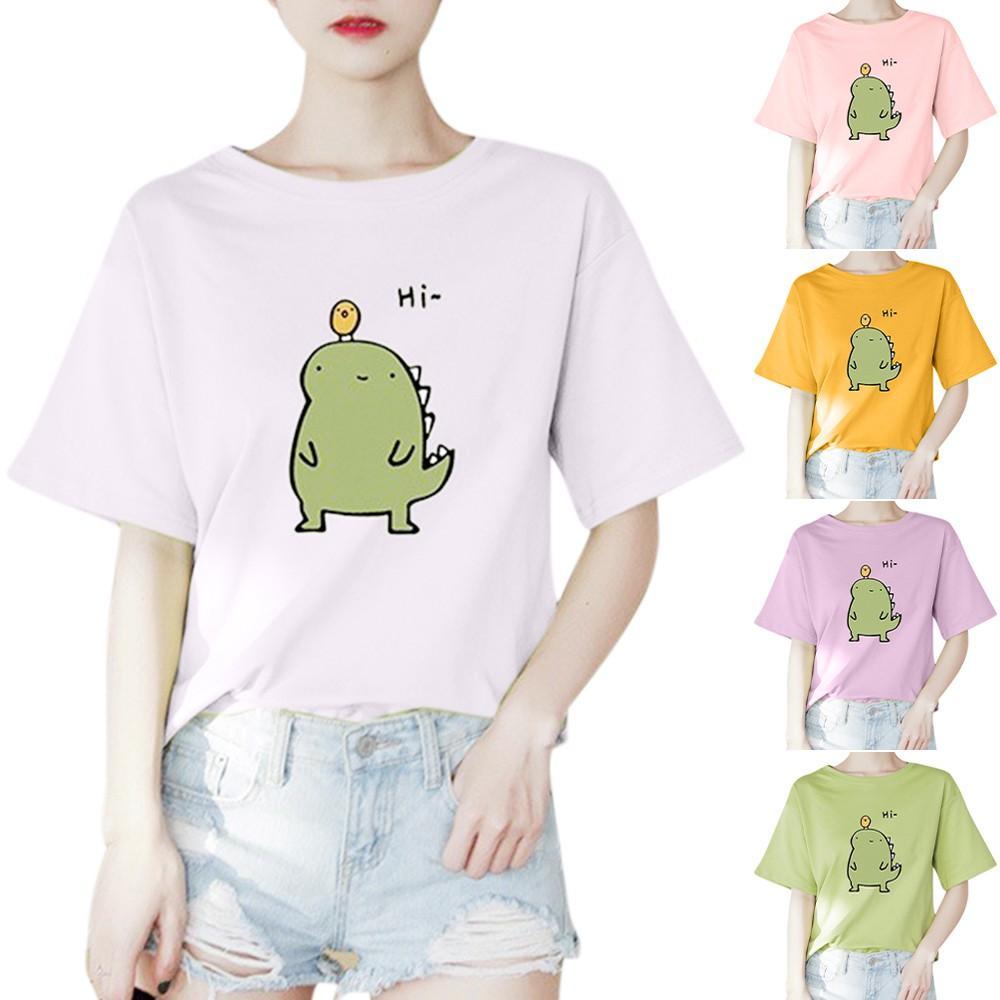 Vêtements pour femmes T-shirt pour femmes imprimer le dinosaure. Tops de mode pour femmes