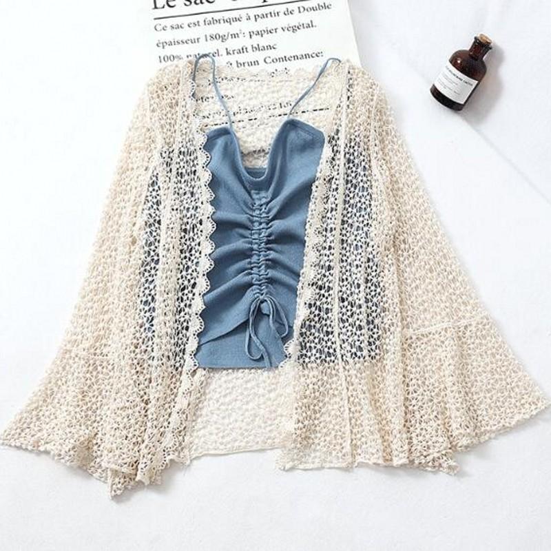 2021 Summer Girls lâche vêtements de mousseline de mousseline de mousseline de mousseline de mousseline de mousseline de cardigan design à manches longues pour photos
