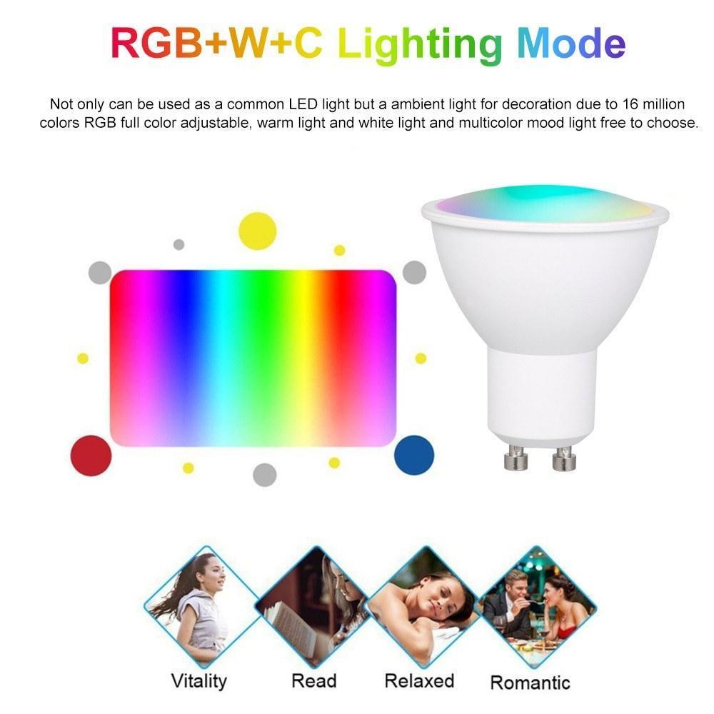 الذكية واي فاي الصمام ضوء لمبة شمعة المصابيح RGB عكس الضوء أضواء 5W GU10 App التحكم عن بعد متوافق مع Alexa Google Home