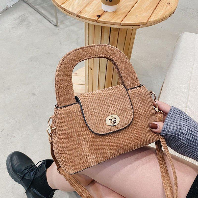 Women's Totes Mini Handtasche Bag Corduroy Leinwand Weibliche Neue Schultermädchen Damen Lässige Vintage Für Tuch Eimer Pouch Geldbörse Kleine LJCBC
