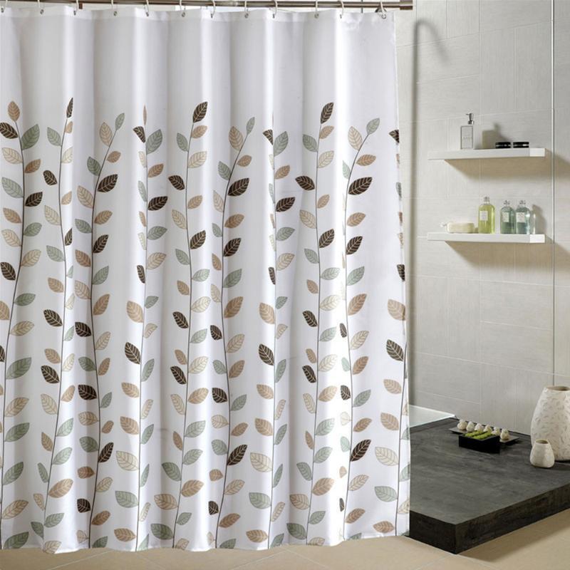 Маленькие листья душевые занавески ванная комната полиэстер водонепроницаемый душ занавески листья печатные шторы для ванной комнаты