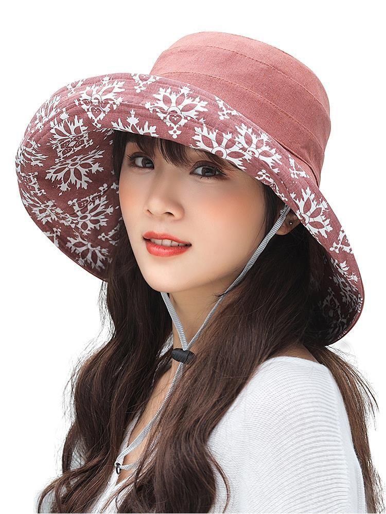 Breite Krempe Hüte Sommer Frauen Schneeflocke Baumwolle Sun Weibliche faltbare Eimerkappe Großer Anti-UV-Strandhut
