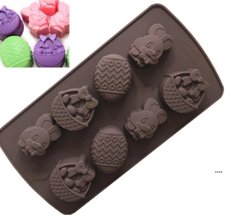 Paskalya Pişirme Araçları Paskalya Çikolata Kalıp Tavşan Yumurta Şekilleri Fondan Kalıpları Jöle Ve Şeker 3D Kalıpları Mutfak Pişirme Araçları Kek Için DIY HWC6682