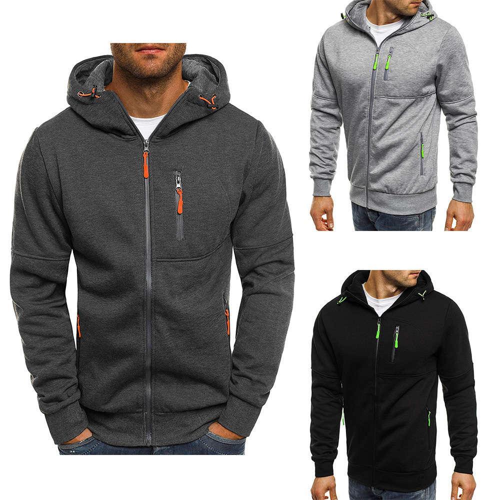 2020 мужской спортивный фитнес досуг жаккардовый свитер кардиган с капюшоном много кармана