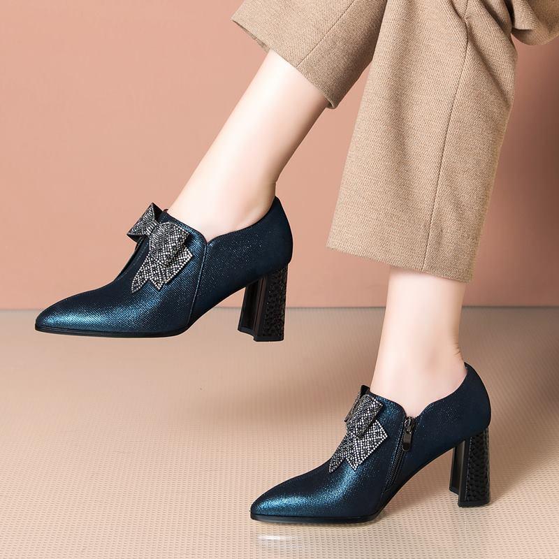 Zapatos de vestir Tamaño 33-42 Diseño de arco Classic Blue Sheepskin Real Cuero genuino Real Tacones de mujer Primavera Moda Marca Damas Tacón alto