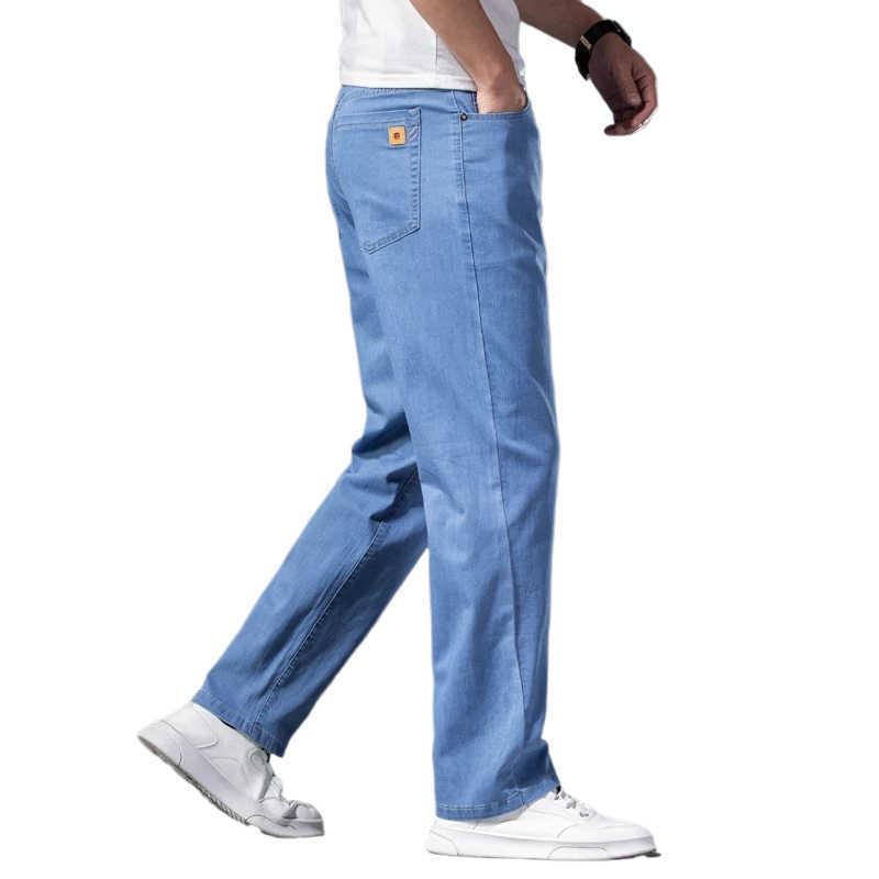 40 42 44 Jeans légers légers de luxe Luxe de haute qualité Lyocell Printemps et de la marque d'été Business Casual Thin Stretch Jeans 210531