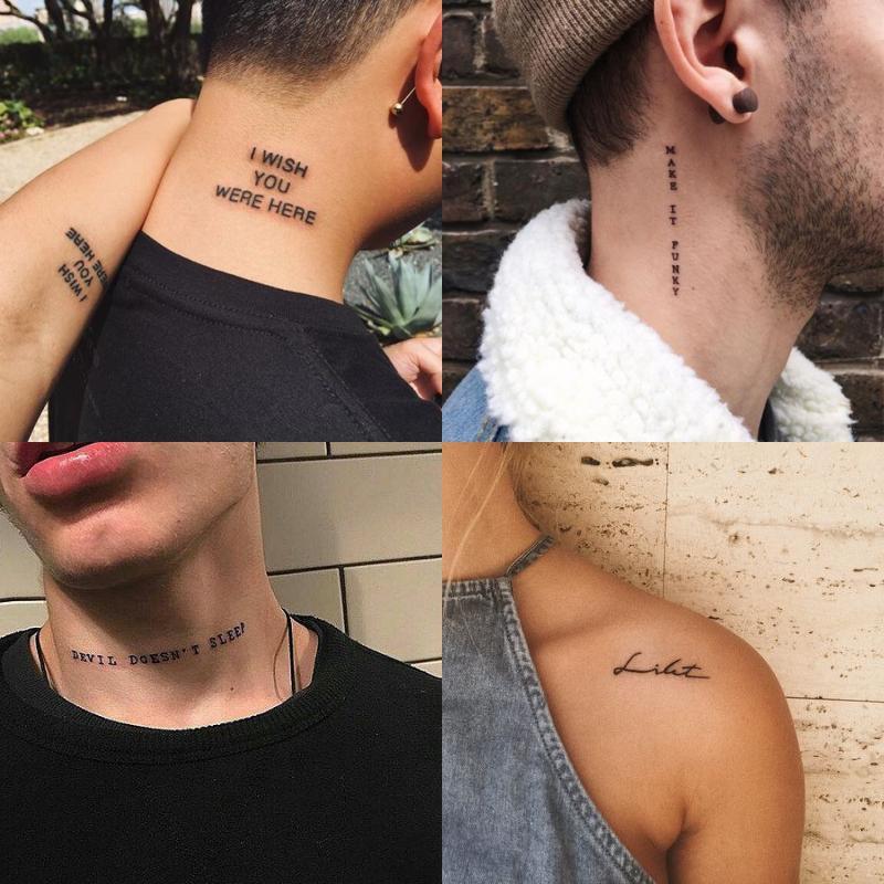 56Sheet Impermeabile Tatuaggio Temporaneo Adesivo Nero Diavolo non dorme Lettere inglesi Tatoo Fake Tatto Collo Polso per uomo