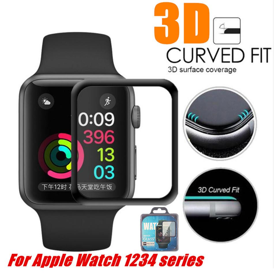 Apple Watch 4 전체 덮여 9H 3D 곡선 엣지 접착제 강화 유리 필름 스크린 프로텍터 40mm 44mm 38mm 42mm iwatch 123