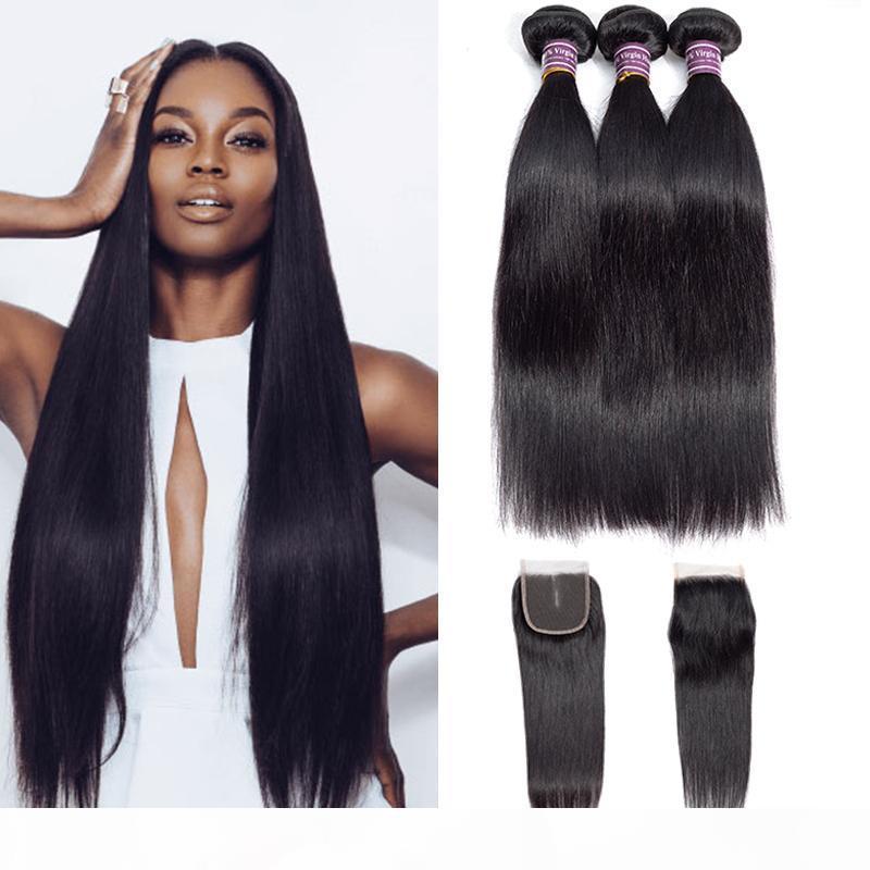 Cabello humano recto 3 paquetes con cierre de encaje 8A El cabello virgen brasileño teje sin procesar indio Malasia húmedo y ondulado.