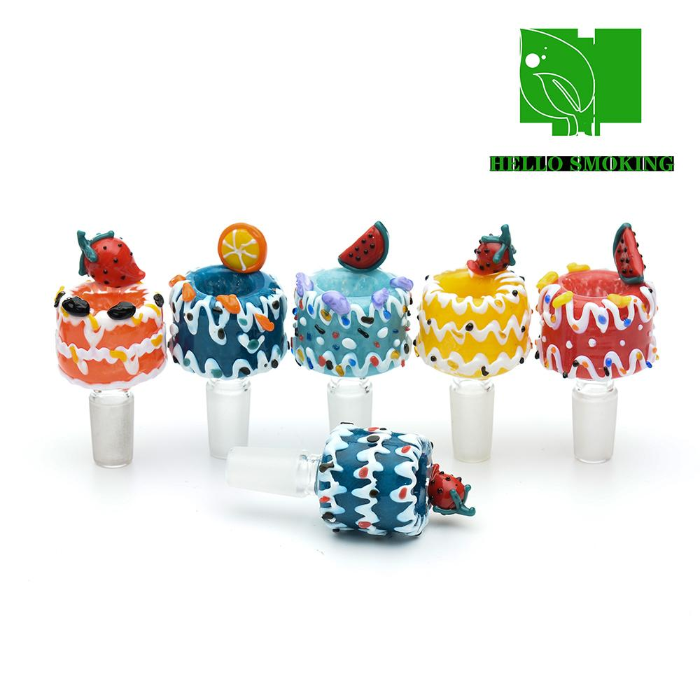 Glass Bowl Smoking fruit lemon model cake colorful 14mm Male exclusive Herb Holers For Water Bongs waterpipe