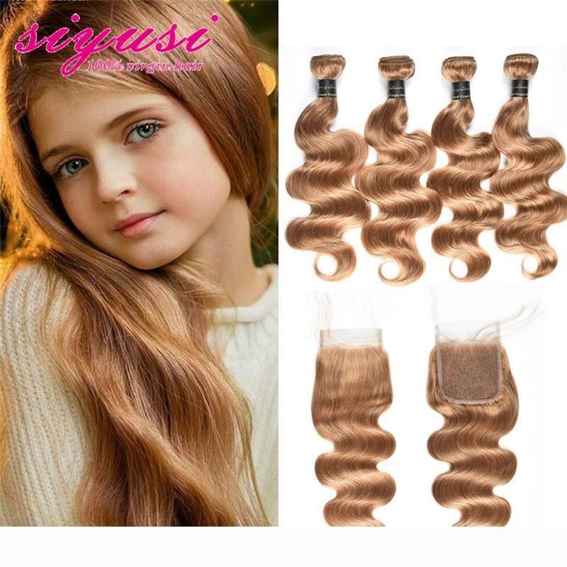 Honig blonde Farbe 27 # Brasilianische Körperwelle 3 4 Bündel mit Spitzenverschluss 100% unverarbeitetes brasilianisches menschliches Haar Körperwelle mit Schließung
