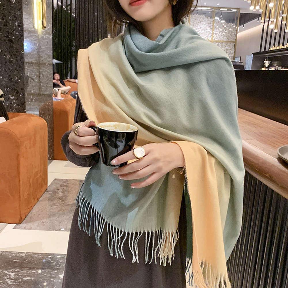 Yeni Kore Kaşmir Sonbahar ve Moda kadın Şal Kalınlaşmış Sıcak Degrade Püskül Kış Eşarp