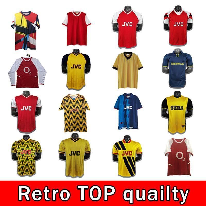 Retro 93 94 00 Arsen Ian Wright Tony Adams Cole Retro Jersey Jersey 88 Rocastle Dixon Campbell Merson Smith Clássico Camisa de Futebol Vintage