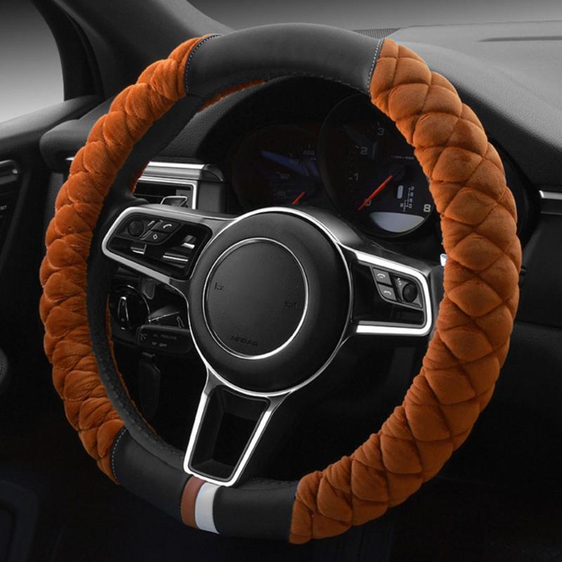 O volante cobre a tampa do carro universal decoração do inverno bonito 38cm pegada de pelúcia auto protetor de veículos automóvel