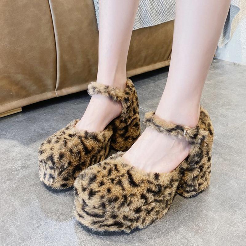 wholesale Sexy Fur Leopard Platform Pumps Women 2020 Autumn New Ladies Buckle High Heels Pumps Fashion Furry Round Toe Lolita Shoes