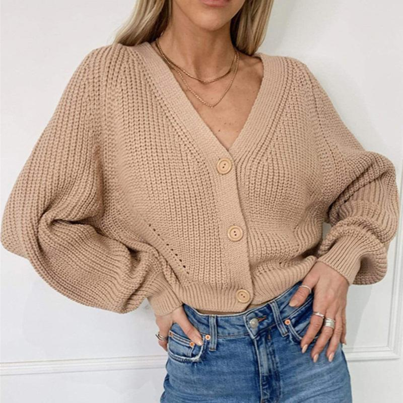 Women's sweater knitted cardigans fashion long fall sleeve casual jacket wide button down in solid tops 2021 6LGT
