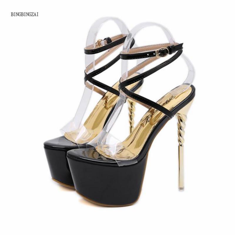 2021 Novas Sandálias Sandálias Super Sexy Net Red Women Sapatos de Alta Qualidade de Alta Qualidade de 17 cm Heaves Plataforma impermeável 7cm Tamanho 4-11 12 BBZA