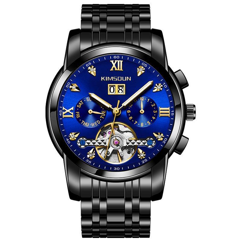 Наручные часы Лучшие мужские водонепроницаемые автоматические часы из нержавеющей стали ремень механические светящиеся алмазные часы для мужчин