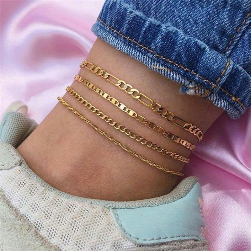 Hot Selling Pie Jewelry Fashion Simple Multi-Capa Anklet Metal Alloy Cadena Type Typle Anklet Women