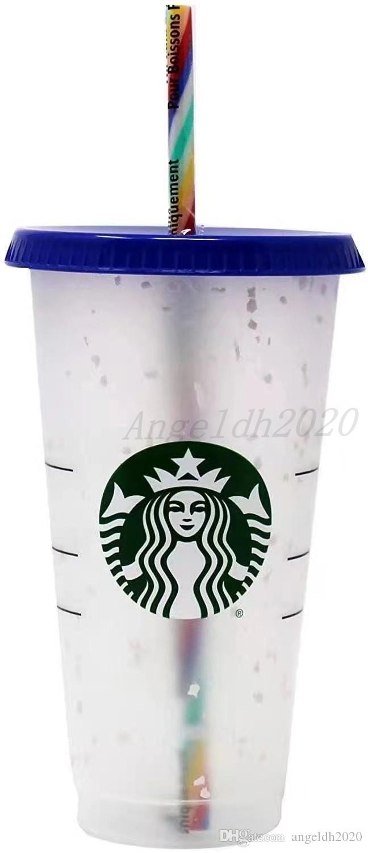 24 oz glas plastik getränk saft cup mit lippen und strohmagie kaffeetasse benutzerdefinierte starbucks kunststoff transparent cup
