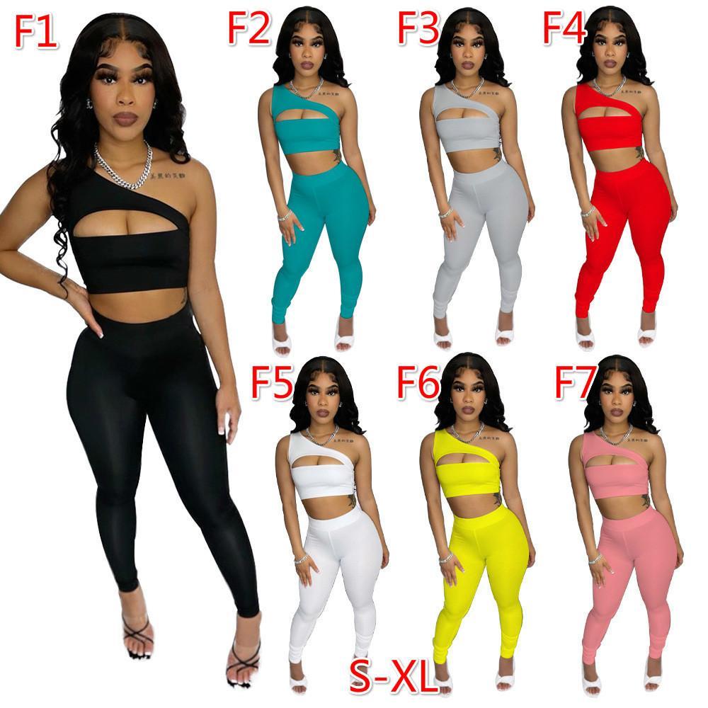Seksi Kadınlar Iki Parçalı Pantolon Eşofman Tasarımcılar Giysi Halter Kolsuz Yelek Legging Fermuar Split Takım Katı Renk Kıyafetler