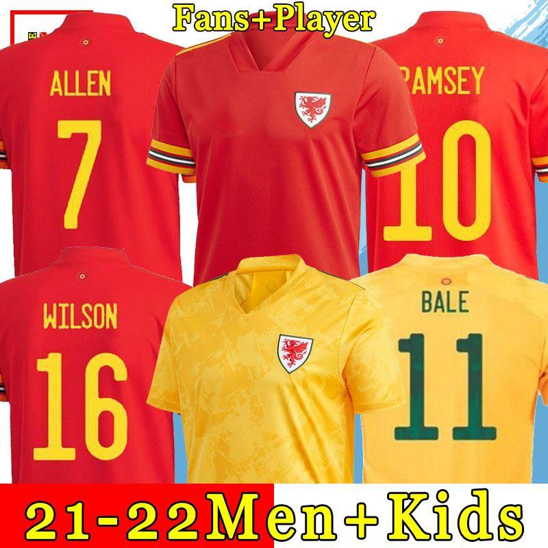 2021 Уэльс футбольные трикотажные изделия домой подальше Джеймс Джеймс Уилсон 22 22 Ramsey Men Kids Maillot De Футбольные рубашки Allen Rokes CamiSeta Futol Униформа Версия фанатов