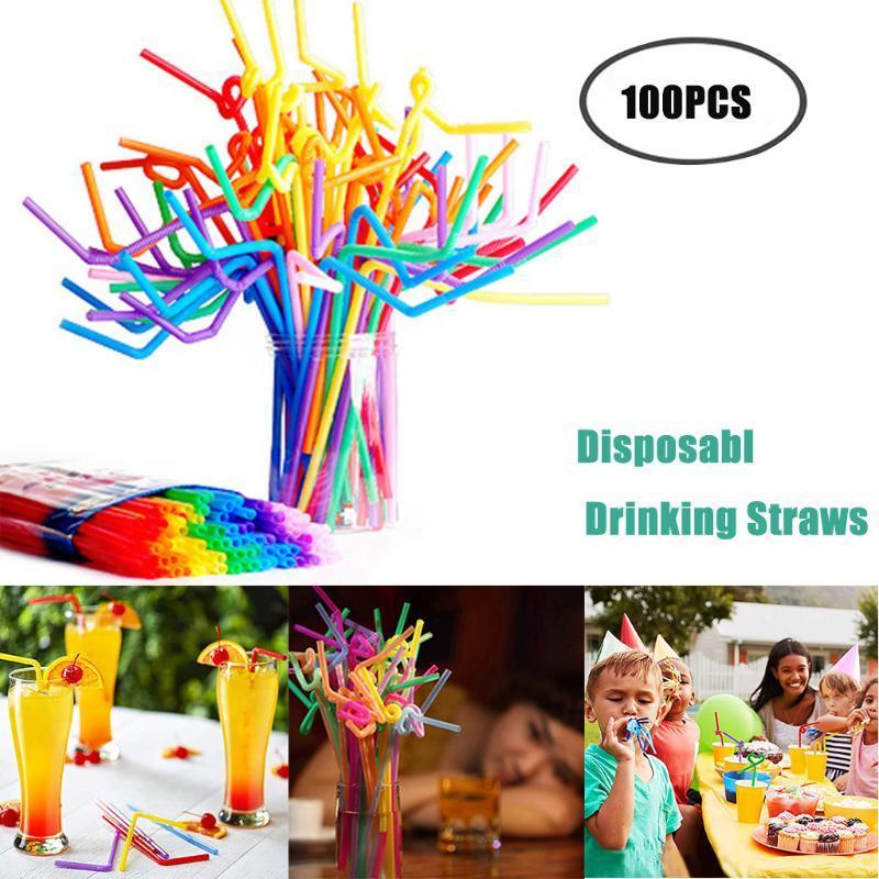 Partido flexível canudo flexão palha plástico bebendo palhas - bar cores 100 pcs beber # 45 acessórios variados descartáveis CMEBL
