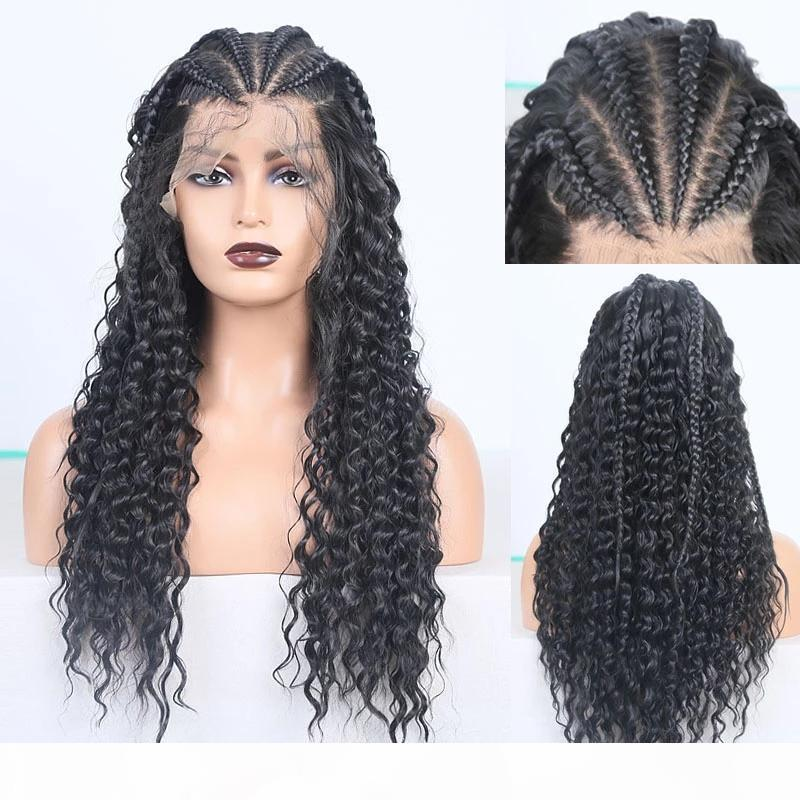 Full 180density cornrow braids curly wig Box Braids Wig Black brown blonde Heat Resistant Hair Synthetic Lace Front Wigs For Women