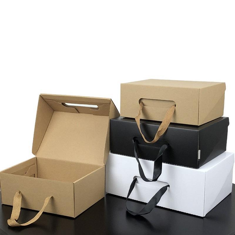 Çevre dostu kraft kağıt hediye kutusu siyah beyaz katlanabilir özel logo karton ambalaj kutusu giysi ayakkabı için uygun