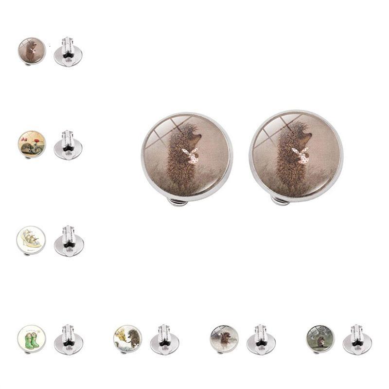 Hehog dans le brouillard d'accessoires Temps Creative Verre Verre Fashion Clip Boucles d'oreilles