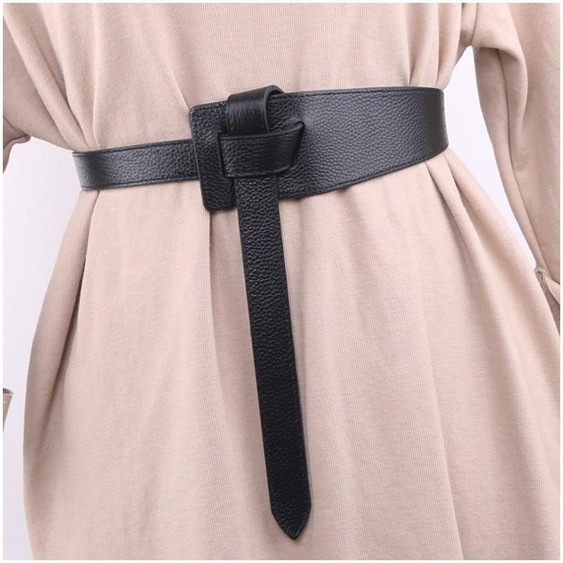 Femminile Decorazione Accessories Cintura Hot Nero Braccio annodato Cintura Semplice Chiusura a vita lunga Lango Ampio Fashion Donne PU cinturino in pelle