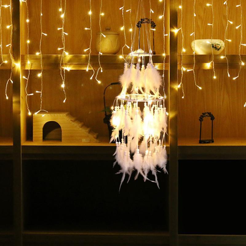 Dekorative Objekte Figuren Ins Handgemacht Kreative kleine Nachtlampe Doppelschicht Dreamcatcher Windspiele Anhänger Nette Mädchen Zimmer Decoratio