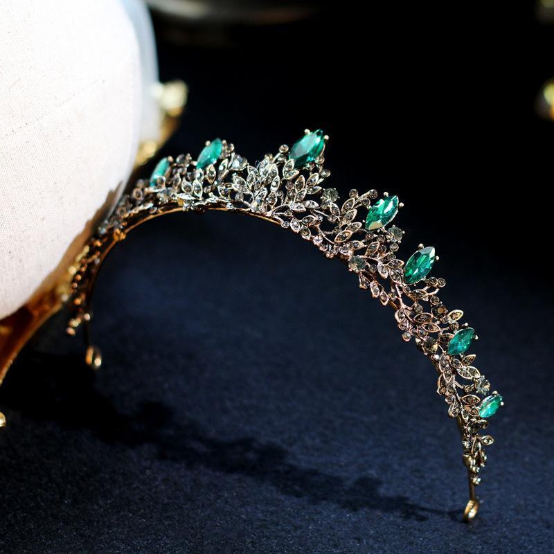 Lujo Vintage Green Crystal Bridal Tiaras Crowns Pageant Prom Rhinestone Veil Tiara Techo Accesorios para el cabello