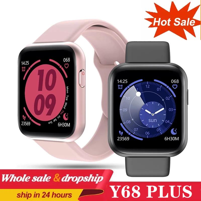 Y68 Plus Smart Watch 2021 Männer Frauen Herzfrequenz Fitness Tracker Armband Smart Clock Wasserdichte Sport Smartwatch für Android ios