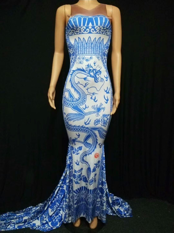 Синее и белое фарфоровое флористическое платье для печати без рукавов длинное хвостовое платье на день рождения платья певица